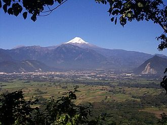 Orizaba - The Orizaba Valley Looking north, Orizaba in the middle distance, the Pico de Orizaba on the horizon