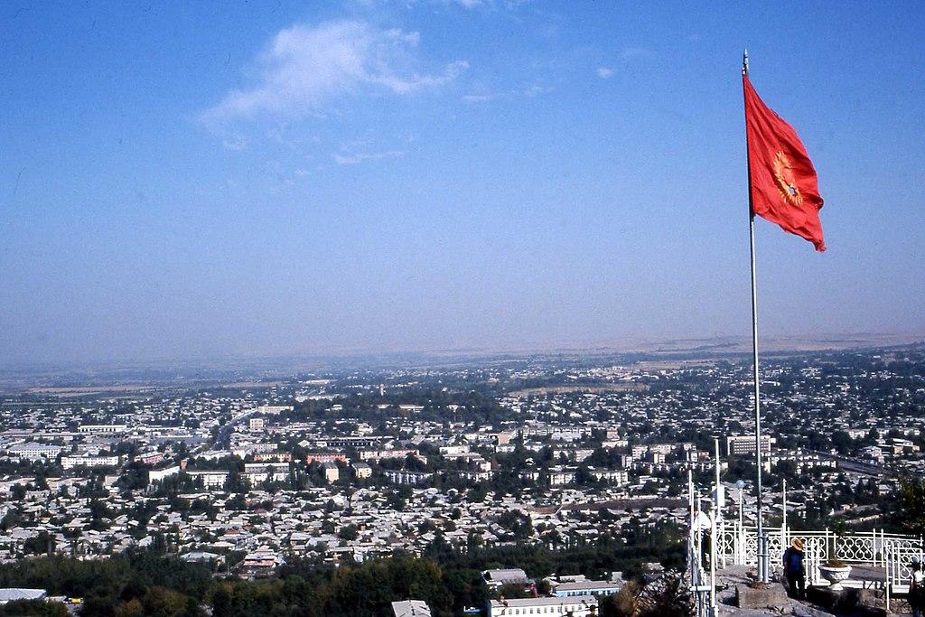 Osh, Kyrgyz flag. Sept 2002 (3507795981).jpg