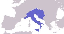 The Ostrogothic Kingdom at its greatest extent.