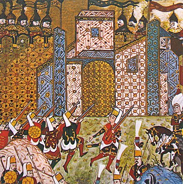 Ottoman Janissaries and defending Knights of Saint John at the Siege of Rhodes in 1522, from an Ottoman manuscript OttomanJanissariesAndDefendingKnightsOfStJohnSiegeOfRhodes1522.jpg