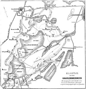 Haarlemmermeer - Historic map of the Haarlemmermeer before reclamation.