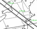Outline map of the path of the shadow of asteroid (163) Erigone as it occults Regulus on March 20, 2014.jpg