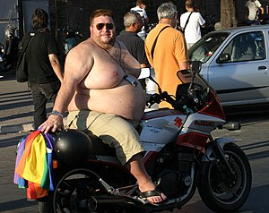 Chub (gay slang) - Chub riding a motorbike