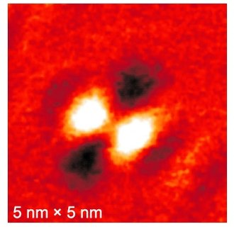 Spin polarized scanning tunneling microscopy - SP-STS image of a single oxygen atom absorbed on a Iron(110) substrate.