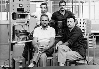 "History of personal computers - Pier Giorgio Perotto (seated to the left) with the P101 team. Pier Giorgio Perotto led a design team that built the Programma 101, a programmable calculator advertised as a ""desktop computer""."