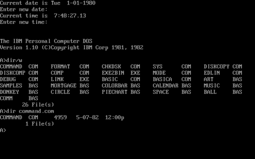 PC DOS was an early personal computer OS that featured a command line interface. PC DOS 1.10 screenshot.png