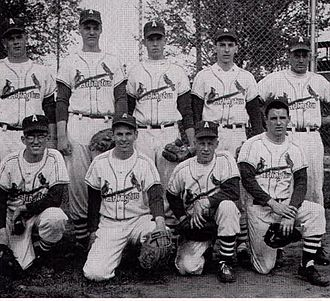 Fritz Peterson - Fritz Peterson (first row, far left, with glasses) on the Arlington High School baseball team during his senior year.
