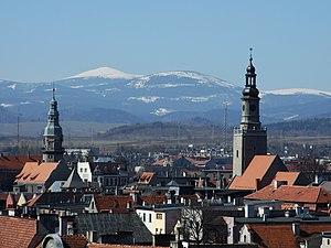 Kamienna Góra - Kamienna Góra with Karkonosze mountain range