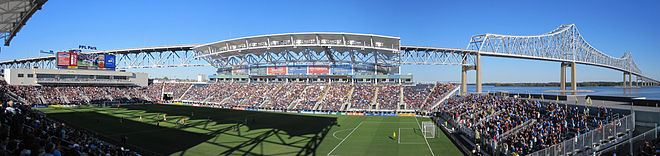 View of the interior of Talen Energy Stadium, from the southwest corner facing the Commodore Barry Bridge in 2010. PPL Park Interior from the Southwest Stands 2010.10.02.jpg