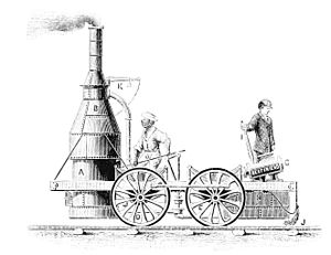 a line drawing of an upright-boiler attached to a four-wheeled platform