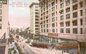 View north on Main Street ca. 1910, with the Pacific Electric Building at the right. Pac-elec-depot-1910.jpg