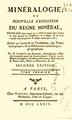 Page de garde du livre Minéralogie ou nouvelle exposition du regne mineral publié en 1774.png