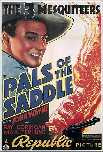 B movie - Stony Brooke (Wayne), Tucson Smith (Corrigan), and Lullaby Joslin (Terhune) did not get much time in harness. Republic Pictures' Pals of the Saddle (1938) lasts just 55 minutes, average for a Three Mesquiteers adventure.