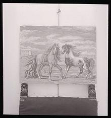 Cavalli di de Chirico in una fotografia di Paolo Monti. Fondo Paolo Monti, BEIC