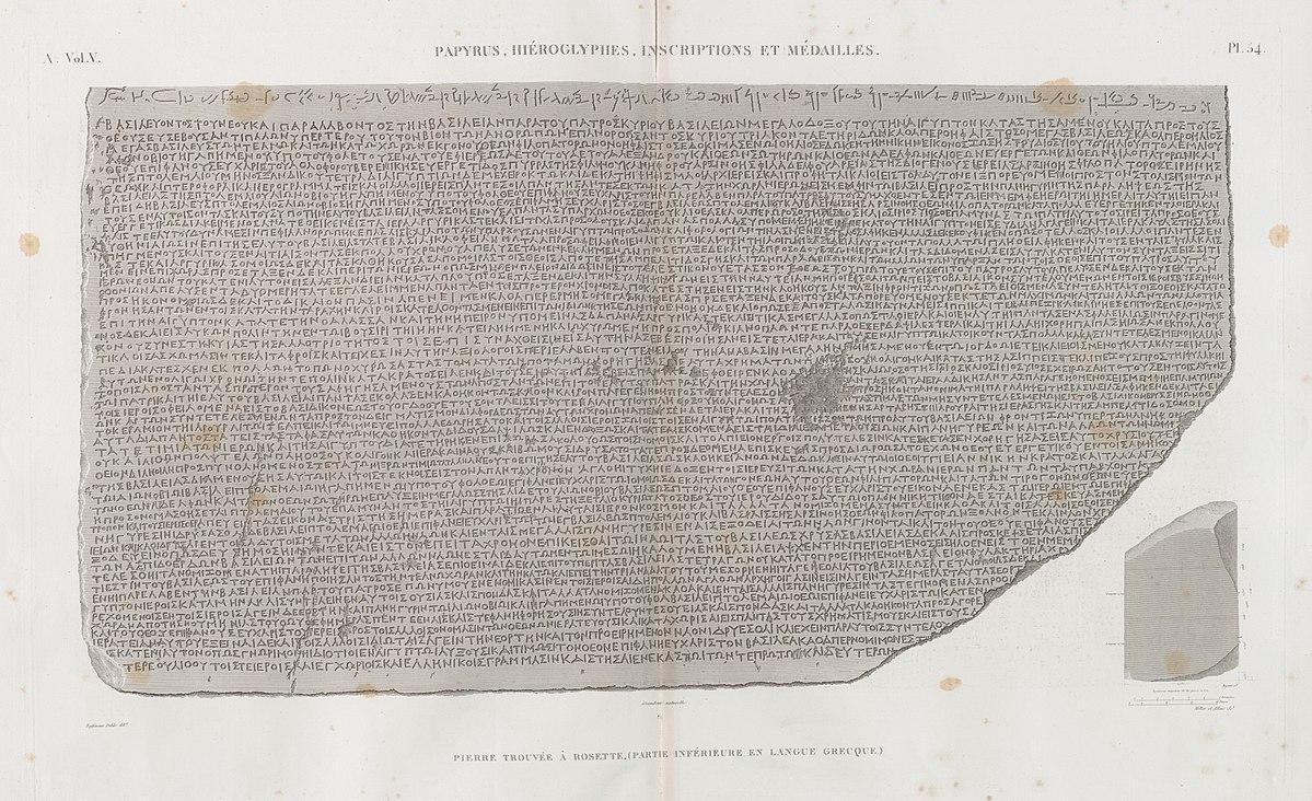 Papyrus, hiéroglyphes, inscriptions et médailles. Pierre trouvée à Rosette, (partie inférieure, en langue greque) (NYPL b14212718-1268222)