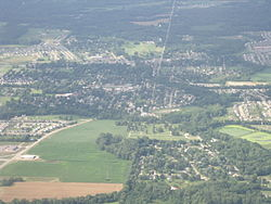 Aerial photograph of downtown Pataskala