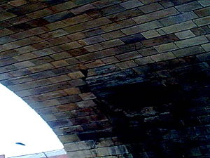 Sheffield Blitz - Patchwork on the Wicker Arches covering an unexploded bomb hole.