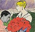 Paul Lasker-Schüler Paar mit rotem Bouquet 1918.jpg
