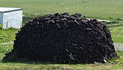 A peat stack in Ness in the Isle of Lewis (Scotland).