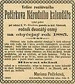 Pecirkuv Narodni kalendar 1885 advertisement.jpg