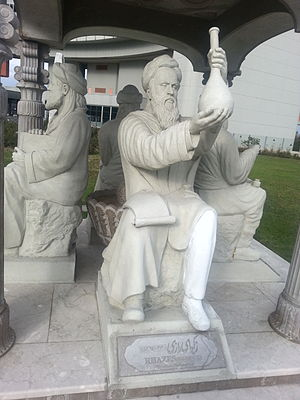 "Muhammad ibn Zakariya al-Razi - The statue of Razi in the ""Scholars Pavilion"" in United Nations Office in Vienna"