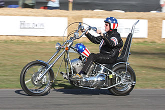 "Chopper (motorcycle) - Peter Fonda rides a replica of the ""Captain America"" bike used in Easy Rider."