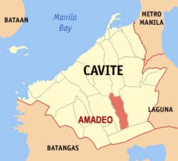 Map of Cavite showing the location of the Amadeo.