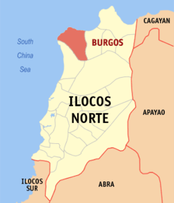 Map of Ilocos Norte showing the location of Burgos