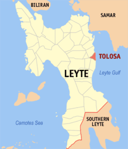 Map of Leyte with Tolosa highlighted