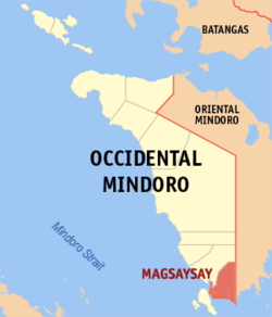 Map of Occidental Mindoro showing the location of Magsaysay