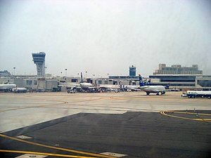 Philadelphia International Airport - Terminal as seen from arriving airplane