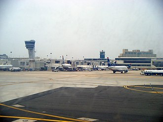Philadelphia International Airport - Terminal as seen from arriving airplane