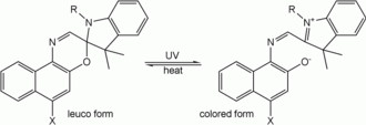 Leuco dye - Transformation between leuco and colored form induced by ultraviolet radiation, photochromism.
