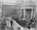 Photograph of dignitaries standing at dedication of Franklin D. Roosevelt home at Hyde Park, New York as a national... - NARA - 199364.tif