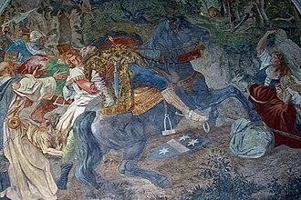 Albrecht Gessler - Ernst Stückelberg's fresco Gessler's death at Tell's Chapel, Sisikon, 1879/80