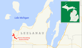 Pierce Stocking Scenic Drive is in western Leelanau County in the northwestern part of the Lower Peninsula of Michigan