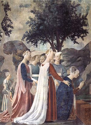 True Cross - The Queen of Sheba venerates the wood from which the Cross will be made (fresco by Piero della Francesca in San Francesco, Arezzo).