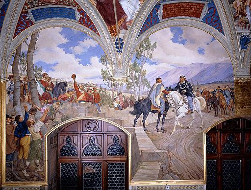 Pietro Aldi - L'incontro tra Giuseppe Garibaldi e Vittorio Emanuele II, affresco del 1886 nella sala del Palazzo Pubblico di Siena
