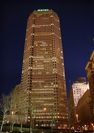 Mellon Financial - Corporate headquarters, One Mellon Center in Pittsburgh, at night.