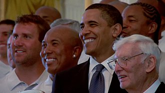 Pittsburgh Steelers - President Obama poses with the Steelers in 2009. Left to right: Ben Roethlisberger, Hines Ward, Obama, and Dan Rooney.
