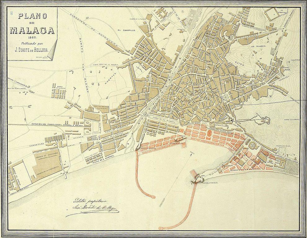 Mapa De Malaga Capital Por Barrios.Archivo Plano De Malaga 1887 Jpeg Wikipedia La