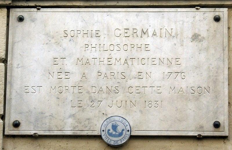 File:Plaque Sophie Germain, 13 rue de Savoie, Paris 6.jpg