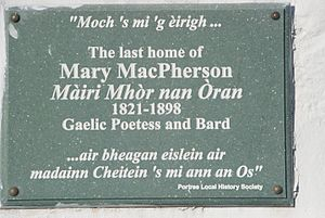 Mary MacPherson - Plaque on the Rosedale Hotel, Portree to Mairi Mhor nan Oran
