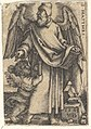 Plate 1- Saint Matthew with his head turned in profile to the left, a cherub at bottom left, from 'The four evangelists' MET DP828548.jpg