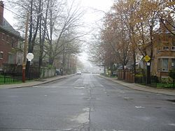 Looking east down Hurndale Avenue, a residential street in Playter Estates.