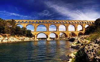 Ancient history - Roman Aqueduct  in Pont Du Gard, France