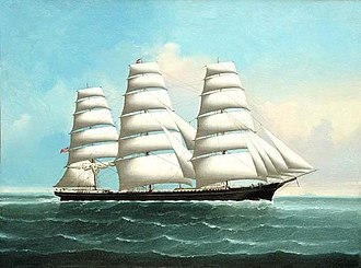 Clipper - American clipper ship, painted in typical style by Chinese artist Lai Fong