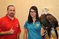 Posing for picture with Bald Eagle. (10596916284).jpg