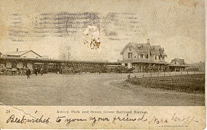 Asbury Park, New Jersey - Postcard of Asbury Park and Ocean Grove Railroad Station, dated 1908