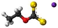 Ball-and-stick model of the component ions of potassium ethyl xanthate